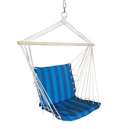 Hanging Hammock Chair with Blue Stripes