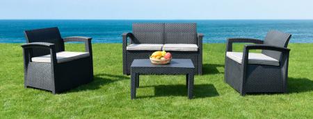 RomanoTable & Chair Set 4-Seater Grey